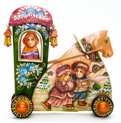 160 mm Carriage with hand painted Apple Trade World Wooden Statue (by Vladislav Toys)