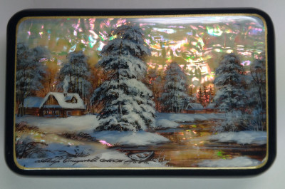 125x80mm Russian Winter hand painted lacquered jewelery box (by Tatiana Shkatulka Crafts)