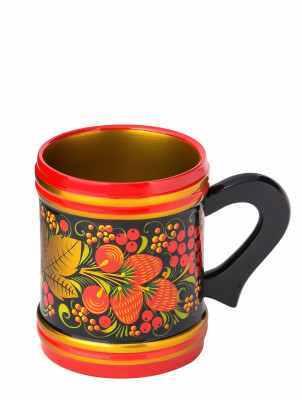 100x85 Rowan hand painted Wooden Beer Mug (by Golden Khokhloma)