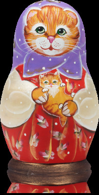 90 mm Red cat with a Kitten hand painted wooden matryoshka 5 pcs (by Vasily Crafts)