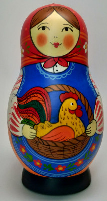 125 mm Mistress with Rooster hand painted Traditional Russian Wooden Matryoshka doll 5 pcs (by Igor Malyutin)