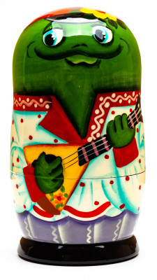 120mm Frog with the Balalaika hand painted Matryoshka 3pcs (by Gift Shop)