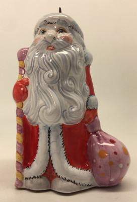 Russian Santa Claus in a red coat hand painted Ceramic Statue (by Maiolica)