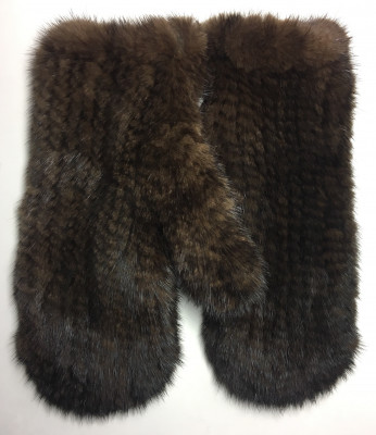 Brown Mink Knitted Gloves (by Skazka Furs)