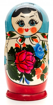 170 mm Blue Head Semenovskaya Hand Painted Wooden Russian Matryoshka Nesting Doll 7 pcs inside (by Ivan Studio)