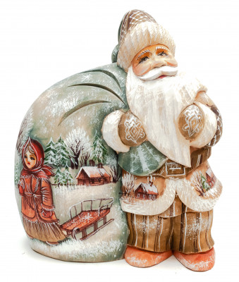 170 mm Santa with a Bag handpainted Wooden Carved Statue (by Sergey Christmas Workshop)
