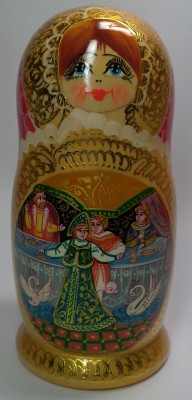 180 mm Swan Princess Fairytale handpainted Wooden Matryoshka Doll 5 pcs (by Valery Crafts)