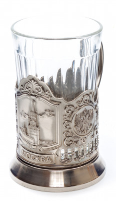 Spasskaya Tower of Moscow Kremlin Nickel Plated Brass Tea Glass Holder with Faceted Glass (by Kolchugino)