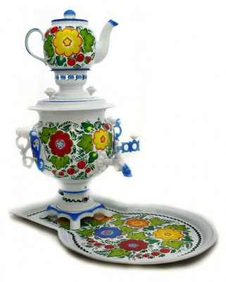 Flower Bouquet Hand Painted Electric Samovar Kettle with Teapot and Tray