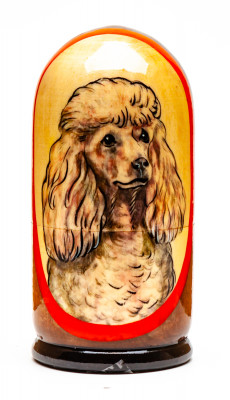 110mm Poodle Hand Painted Matryoshka Doll 5 pcs (by Konstantin Crafts)