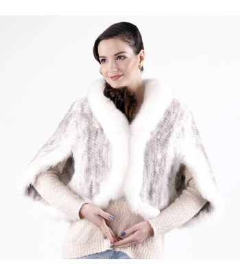 Cross Mink Fur Spiral Cape with Arctic Fox Collar