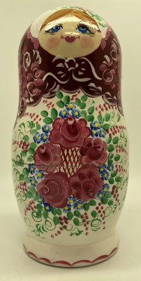 180 mm Red and White Gzhel Patterns hand painted on wooden Russian Matryoshka 5 pcs (by Rose Studio)