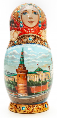 160 mm Moscow Saint Basil Cathedral hand painted Matryoshka round Doll 5pcs (by A Studio)