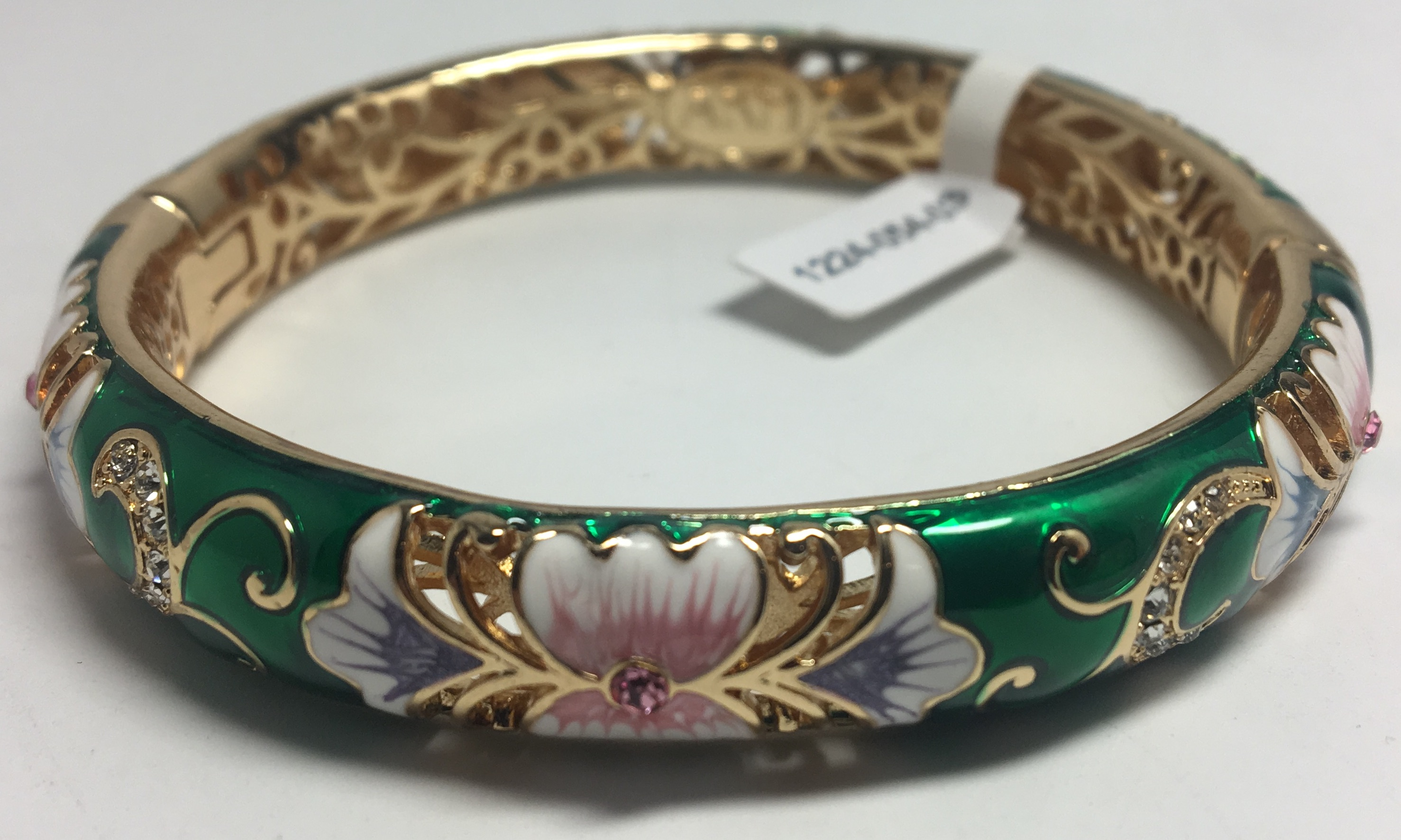 Flowers Green Bracelet with Enamel (by AKM Gifts)