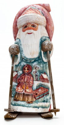 190 mm Santa Skiing with a Bag with handpainted Girl with Sleighs Wooden Carved Statue (by Igor Carved Wooden Figures Studio)