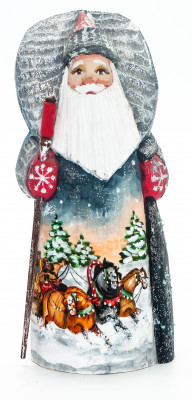 190 mm Santa Claus with a Bag and a Magic Staff with handpainted Troika Wooden Carved Statue (by Igor Carved Wooden Figures Studio)