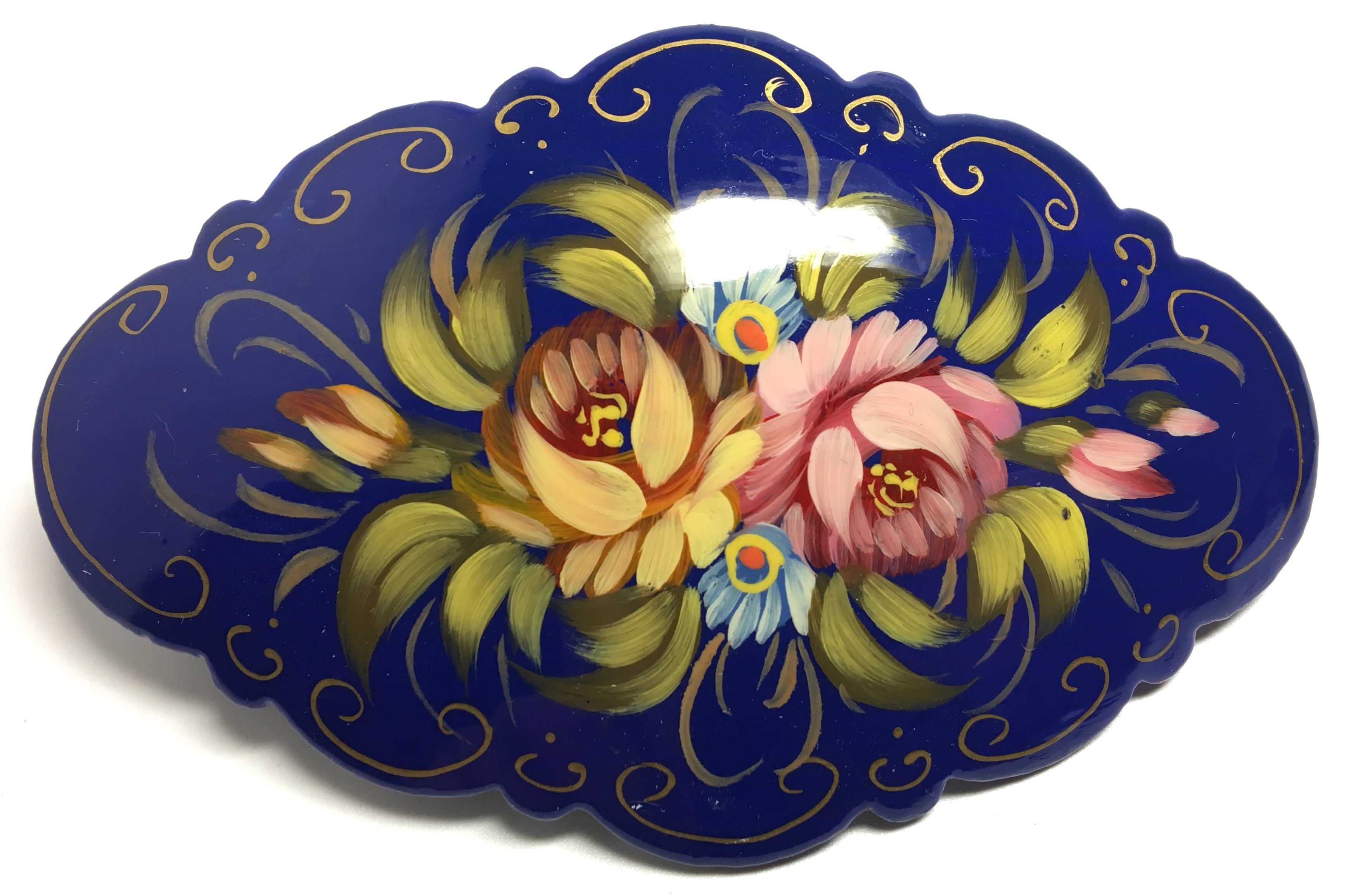 100x60 mm Zhostrovo Art handpainted papiermache Hair Clip (by Lada Workshop)