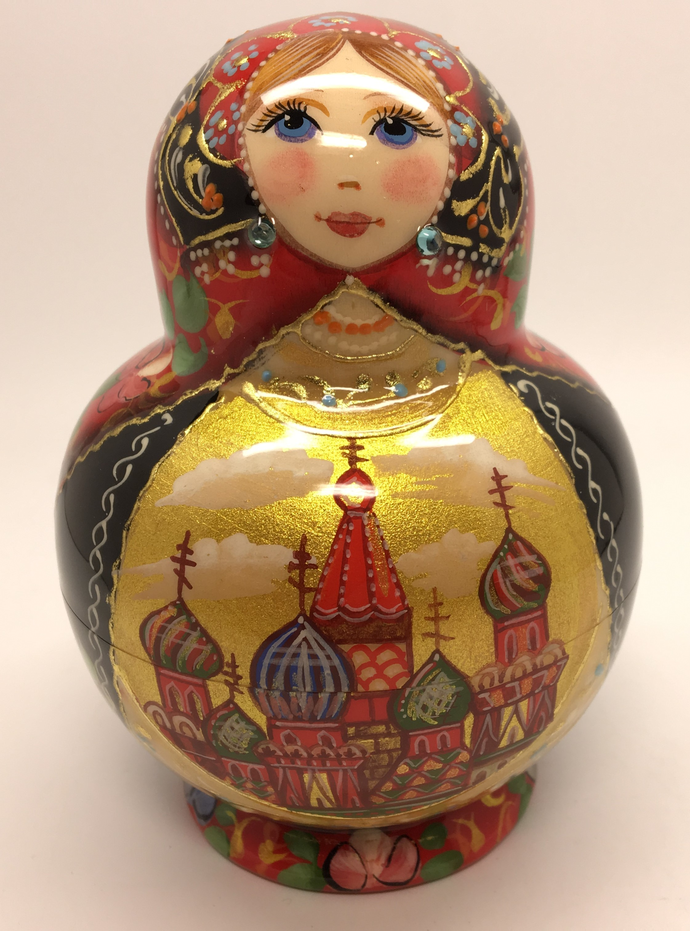 110 mm Moscow Cathedrals round shape hand painted wooden Russian Matryoshka doll (by A Studio)