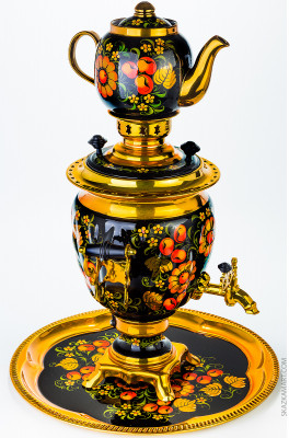 Golden Khokhloma Hand Painted Electric Samovar Kettle with Teapot and Tray