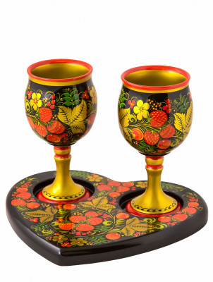 Two Glasses and a heart-shaped Tray hand painted Wooden Set of 3 pcs in Russian style (by Golden Khokhloma)