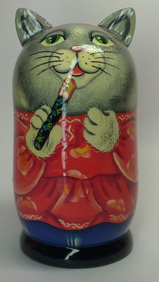 120mm Cat with a Pipe hand painted Matryoshka 3pcs (by Gift Shop)