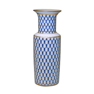 Vase Cylindrical Cobalt Net (by Imperial Porcelain Factory)