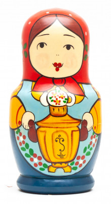 110 mm Mistress with a Samovar hand painted Traditional Russian Wooden Matryoshka doll 5 pcs (by Sergey Malyutin)