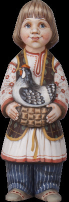 220 mm Russian Boy in a Traditional Dress with a Chicken hand painted Wooden Sculpture (by Karpova Nadezda)