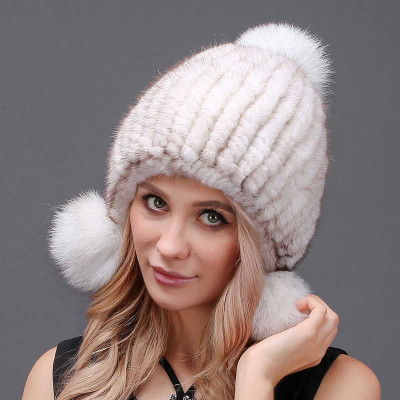 Cross Knitted Mink Fur Hat with 3 pompons