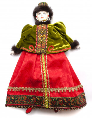 The Girl in a Winter Dress and Fur Hat hand-sewn Porcelain Doll - 16 Inches
