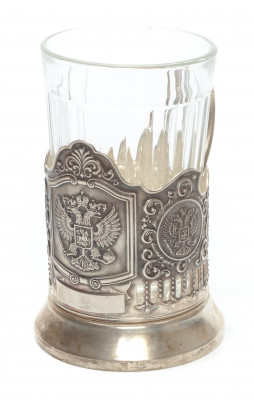 Coat of arms of Russia Nickel Plated Brass Tea Glass Holder (by Kolchugino)