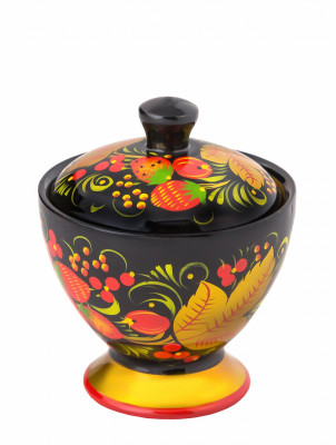 90x80 mm Khokhloma hand painted wooden Salt Cellar (by Golden Khokhloma)