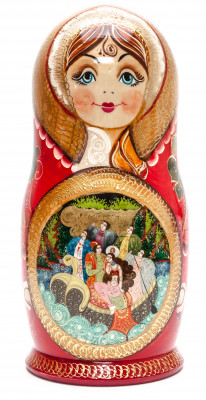 340 mm Russian Fairytale handpainted Wooden Matryoshka Doll 15 pcs (by Valery Crafts)