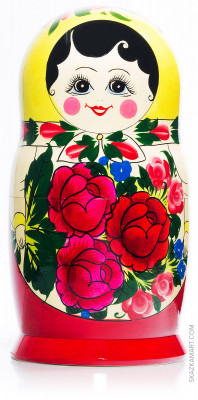 260 mm Yellow Head Semenovskaya handpainted wooden Matryoshka Doll 10 pcs (by Ivan Studio)