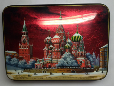 145x110mm Moscow Snt Basil Cathedral and Red Square hand painted lacquered jewelery box (by Tatiana Shkatulka Crafts)