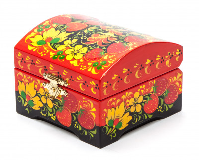 Khokhloma Painting Jewellery Wooden Box 90x90 mm