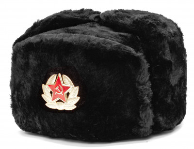 USSR Red Army Fur Ushanka Winter Hat (black, any size)
