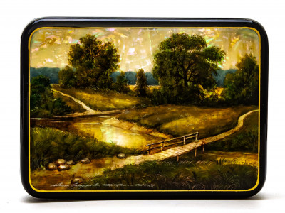 150x110mm Summer Landscape and Old Bridge hand painted on pearl shell lacquered box from Fedoscino (by Tatiana Crafts)