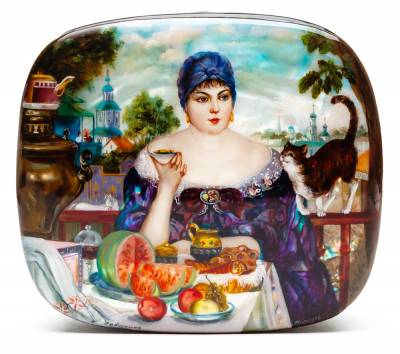 120x110 mm The Merchant's Wife at Tea by Boris Kustodiev hand painted lacquered box from Fedoscino (by Nevsky Art)