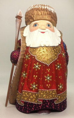 170 mm Santa Claus with a Blue Bag of Christmas Gifts on his shoulder and with a Magic Staff Carved wooden figure, hand-painted (by Igor Wood Carving Figures Studio)