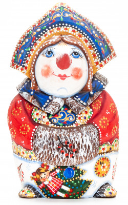 160 mm Snowman hand painted wooden figurine (by Natalia Nikitina Workshop)