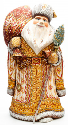 340mm Santa Claus with a Magic Staff and a Bag handpainted Wooden Carved Statue (by Natalia Nikitina Workshop)