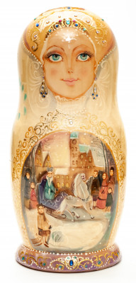 280 mm The Snow Queen hand painted on Wooden Matryoshka doll 10 pcs (by Golden Cockerel Studio)