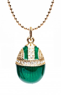 Water Drop with Rhinestones Green Egg Pendant