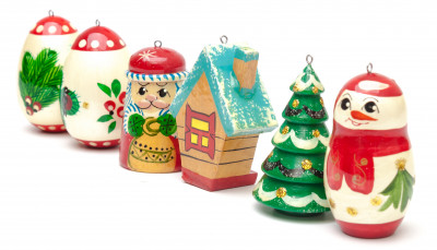 Snowman and Santa Claus Wooden Christmas Tree Ornaments