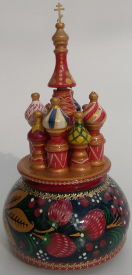 190 mm Saint Basil's Cathedral Khokhloma Art hand painted Wooden Music Box (by Nightingale Crafts)