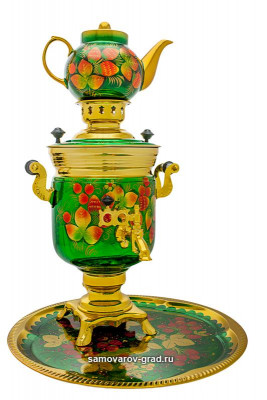 Strawberries Hand Painted Electric Samovar Kettle with Teapot and Tray