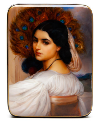 120x90mm Maiden Portrait Hand Painted Jewellery Box (by Alexander G Studio)