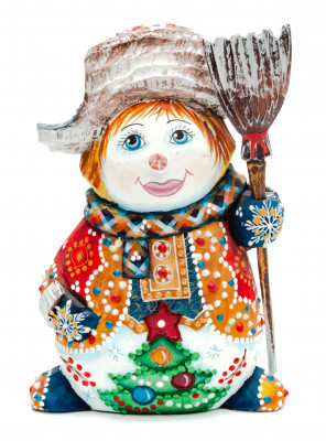 140 mm Snowman with a Broom on wooden Figurine (by Natalia Nikitina Workshop)