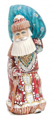 220 mm Santa Claus With a Staff And a Bag of Gifts (by Igor Carved Wooden Figures Studio)